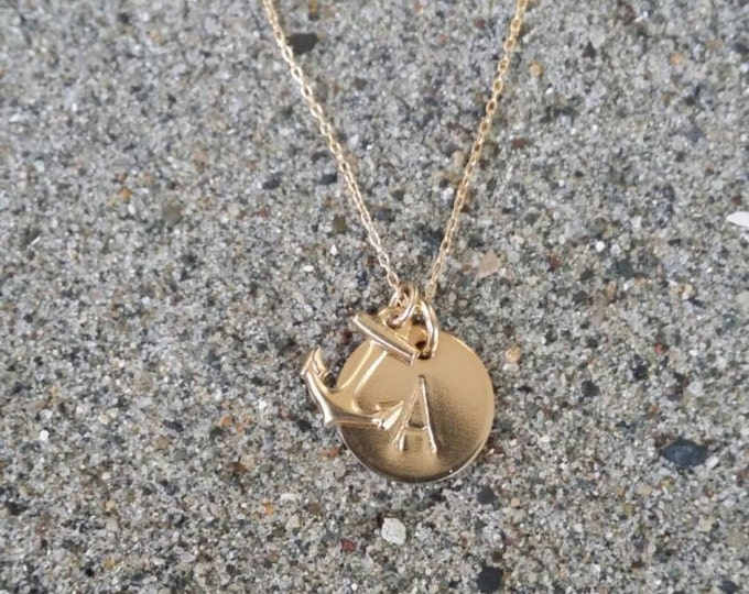 Anchor, Initial Necklace, Gold filled, Monogram necklace