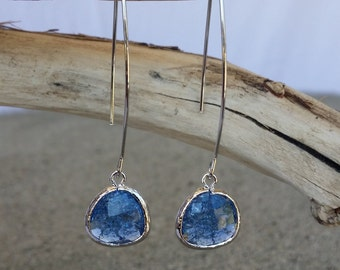 Bezel Set, Drop Earring, Faceted Crackled Glass, Silver Ear Wire, Montana Blue