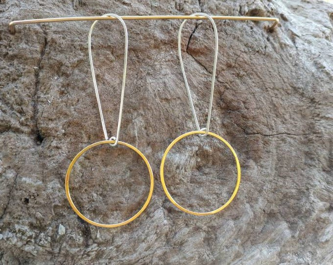 Circle Earrings, Simple Hoops, Gold and Silver, Mixed  Metal, Hoop Earrings, Hammered Earrings, Gold Earrings, Geometric, Earrings, dangle