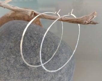 Thin Hoop Earrings, Hoop Earrings, Lightweight, Hammered Hoop Earrings, Hammered Earrings, Sterling Silver, or, Gold, Small, Medium, Large