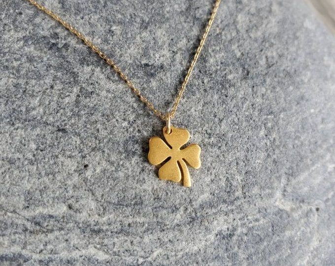 Gold Shamrock Necklace, Gold Clover, Dainty Gold Necklace, Shamrock Necklace, 4 leaf clover necklace, Gold, Shamrock, Dainty, Minimalist