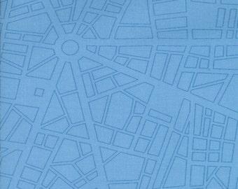 Barcelona City Map  by Zen Chic for Moda Fabrics, sky, 153325