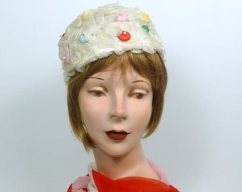 White Woven Horsehair Crin Pillbox Hat - Vintage Straw Dots - Hand Blocked and Sewn - Mother of the Bride - Church - Wedding