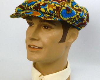 Newsboy Style Cap Hat -1920s 1930s Style -Vintage Multi-Color Silk Stehli  Fabric - Hand made - Unisex - Marsala c49113330f0