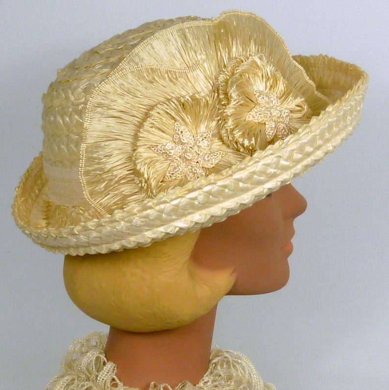 Derby Ivory Straw Bowler Style Hat Vintage Hand Made Straw Flower Accents Luncheon Wedding Dotted Swiss Band Church