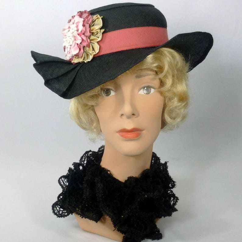 Black and Pink Straw Hat Church Vintage Swiss Straw Hood Kentucky Derby Hand made Ribbon Flowers Luncheon Summer