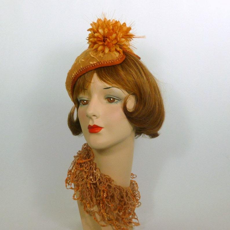 1a8156b8690bb Copper Gold Lace Fascinator Hat Handmade from Vintage Lace