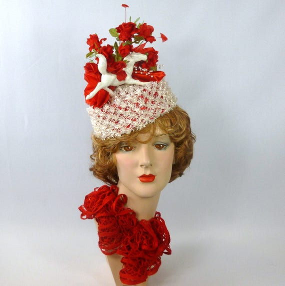 Red and White Pillbox Hat in Straw Silk   Satin Kentucky  3ea26d4ee573