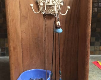 unique jewelry hanger, repurposed wood drawer, lovely gift for home decor, antique rotating hooks