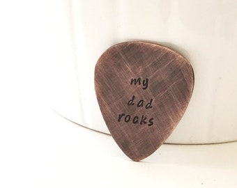 My Dad Rocks Guitar Pick, Personalized Gift for Men, Copper Guitar Pick, Gift For Dad, Fathers Day Gift, Engraved Pocket Token, Gift For Him