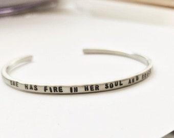 Personalized Cuff Bracelet. Secret Message Nickel Silver Bracelet, Customized Gifts, Stacking Skinny Bracelet, Birthday Gift for Women