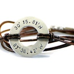 Coordinate Bracelet. Personalized Mens Bracelet. Washer Bracelet. Custom Bracelet. Leather Bracelet. Mens Gift. Birthday Gift For Him