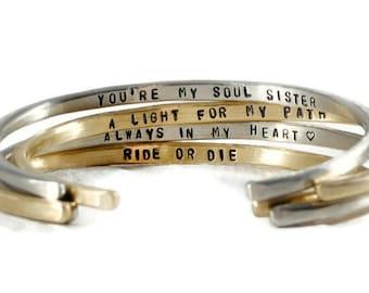 Inspirational Bracelet. Personalized Cuff Bracelet. Mantra Custom Bracelet. Motivational Birthday Gift. Girlfriend Gift For Her.Yoga Jewelry