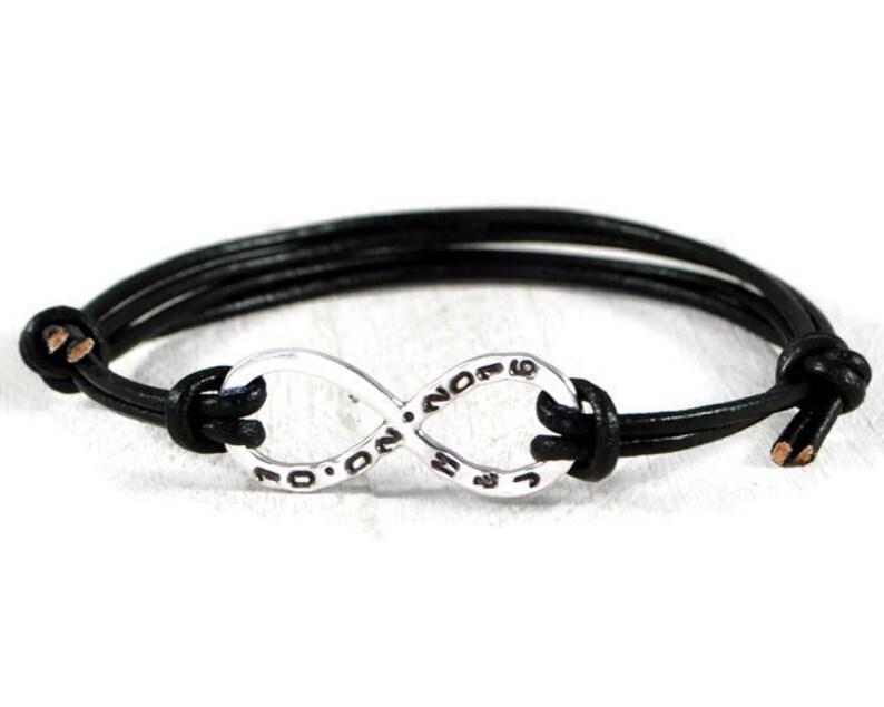 Initials Date Bracelet Engraved Bracelet Leather Bracelet Custom Bracelet Personalized Mens Bracelet Sterling Silver Infinity Bracelet