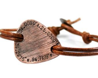 Coordinate Bracelet. Personalized Mens Bracelet. Guitar Pick Bracelet. Custom Bracelet. Leather Bracelet. Engraved Bracelet. Gift For Him