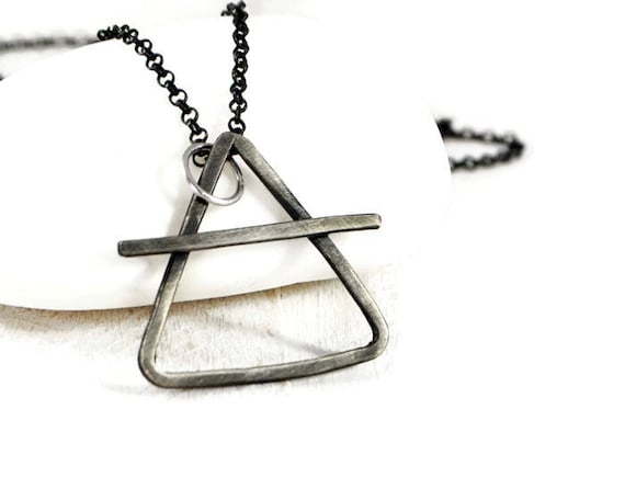 Alchemy Silver Chain Necklace Mens Rustic Pendant Necklace Etsy