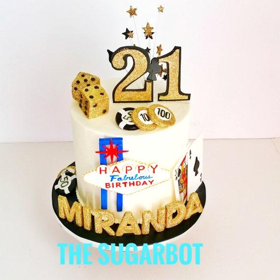 Marvelous Las Vegas Theme 21St Birthday Cake Set Edible Black And Etsy Personalised Birthday Cards Beptaeletsinfo