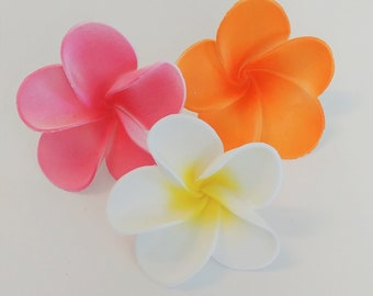 "3 Gum Paste Plumerias, 2.75"" wide, Edible Flower, Cake or Cupcake Topper"