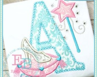 Glass Slippers Alphabet or Numbers Princess Boutique Tee Shirt - Embroidery, Applique, Add a Name for Free