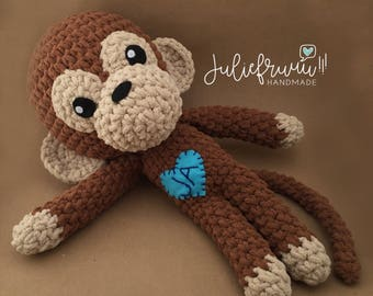 PATRÓN/PATTERN: Monkey Amigurumi, Mono Monito crochet English and Spanish, DIY, birthday, handmade gift, hazlo tu mismo