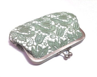 Sage green Guipure Lace clutch bag