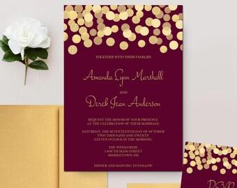 Burgundy and Gold Wedding Invitations, Gold Glitter Confetti Invites, Marsala Wedding Invitation Set - DEPOSIT