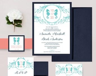 Beach Wedding Invitations, Seahorse Wedding Invites,  Navy and Coral Invite, Modern Wedding Invitation Set - DEPOSIT
