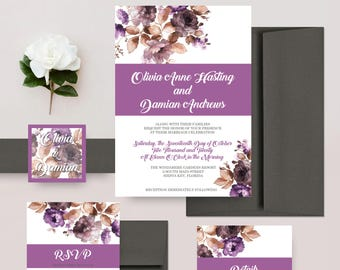 Rustic Purple Floral Wedding Invitations, Lavender and Grey Flower Invites, Boho Watercolor, Romantic Wedding Invitation Set - DEPOSIT