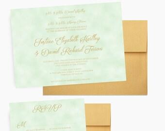 Mint and Gold Wedding Invitations, Gold Calligraphy Invites, Wedding Invitation Set - DEPOSIT