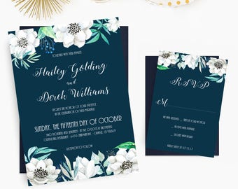 Navy and White Floral Wedding Invitations, Boho Country Chic Invites, Watercolor Wedding Invitation Set - DEPOSIT