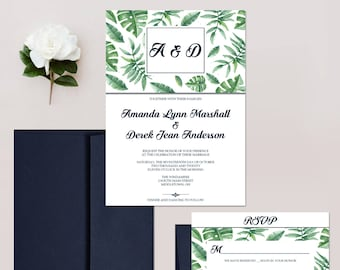 Navy and Green Wedding Invitations, Tropical Invites, Botanical Wedding Invitation Set - DEPOSIT