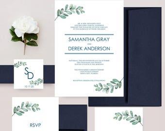Simple Sprigs Rustic Wedding Invitations, Greenery Invites, Fern Foliage Invitation, Wedding Invitation Set - DEPOSIT