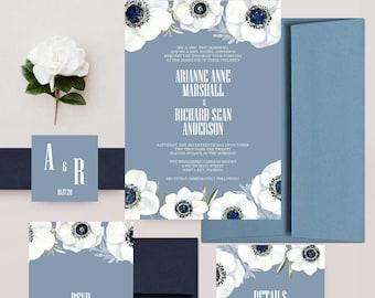 Dusty Blue Wedding Invitations, Watercolor Floral Invites, Romantic Wedding Invitation Set - DEPOSIT