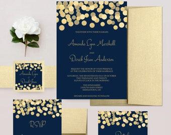 Navy and Gold Wedding Invitations, Gold Glitter Confetti Invites, Wedding Invitation Set - DEPOSIT
