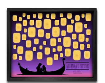 Tangled Guest Book Alternative, Rapunzel and Flynn Wedding, Keepsake Poster, Disney Weddings, Wedding Gift -11x14, 16x20, 20x24, 24x36
