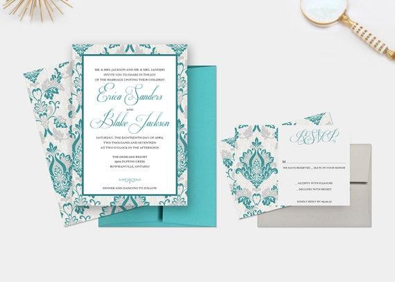 Wedding Invitations Turquoise: Turquoise Damask Wedding Invitations Grey And Turquoise