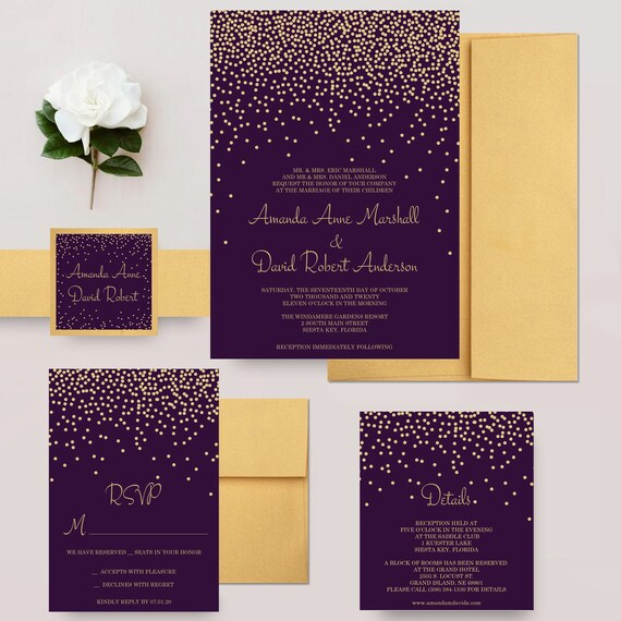 Gold And Purple Wedding Invitations: Gold And Purple Wedding Invitations Faux Glitter Confetti