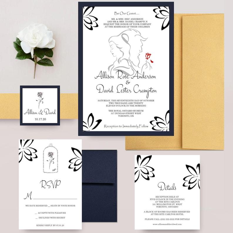 Beauty And The Beast Wedding Invitations Disney Invite Belle Invitation Romantic Fairytale
