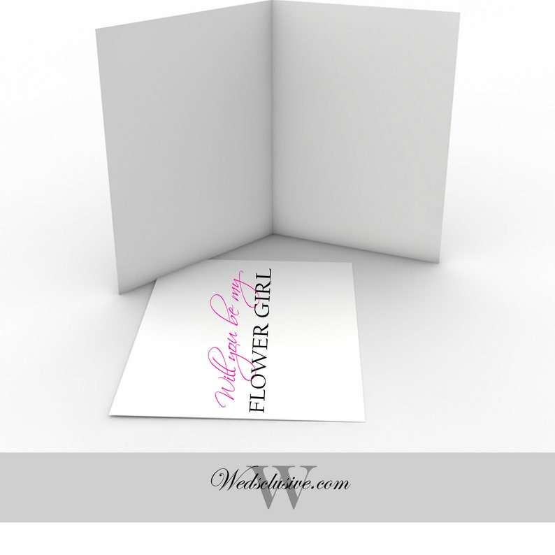 PRINTABLE Pink Flower Girl Asking Card Instant Download Will You Be My Flower Girl Card