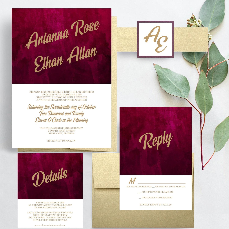 Burgundy Marble Wedding Invitations Burgundy and Gold | Etsy