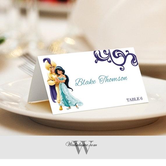 Aladdin Und Jasmin Tischkarten Tischkarten Hochzeitskarten Etsy