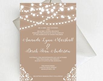 Rustic String Lights Wedding Invitation Suite, Burlap Country Lace Wedding Invitation Set, Romantic Invites, Printed Invitations