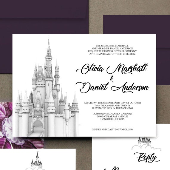 Cinderella Elopement Announcement Fairytale Wedding Cinderella Wedding Invitation Suite Watercolor and Gouache Once Upon A Time Wedding