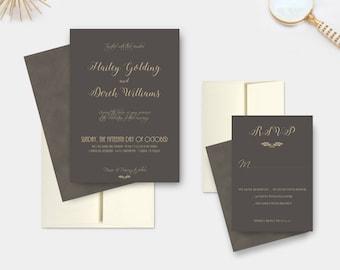 Rustic Wedding Invitations, Elegant Calligraphy Suite, Wedding Invitation Set - DEPOSIT