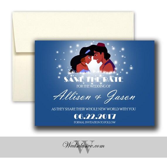 Aladdin and Jasmine Save the Date Disney Weddings Fairytale | Etsy