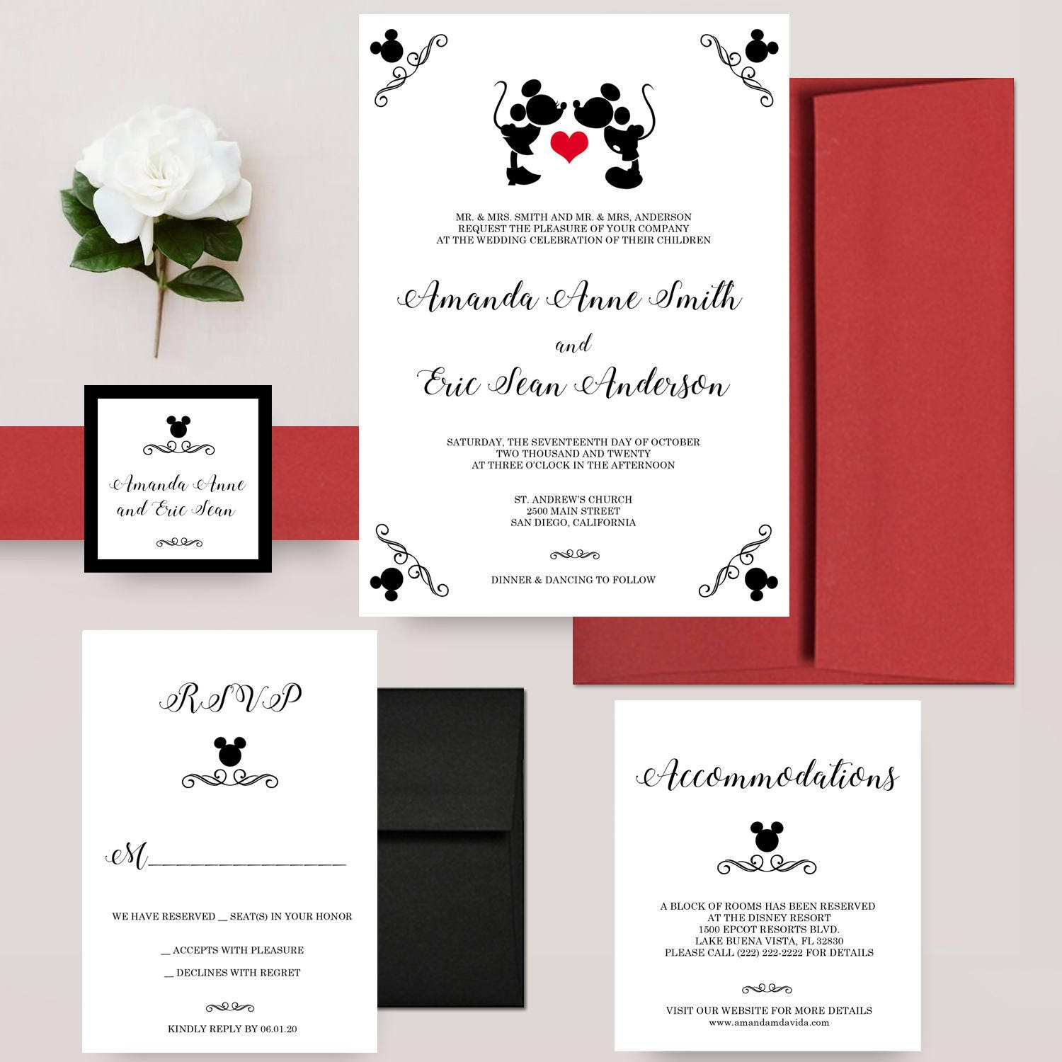 Mickey Mouse Wedding Invitations Mickey and Minnie Disney | Etsy
