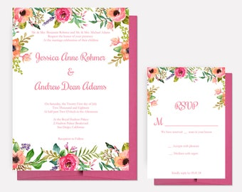 Romantic Floral Wedding Invitations, Calligraphy Invites, Wedding Invitation Set - DEPOSIT