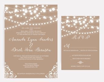Rustic, Country, String Lights, Burlap, Lace Wedding Invitations, Romantic Invites, Wedding Invitation Set - DEPOSIT