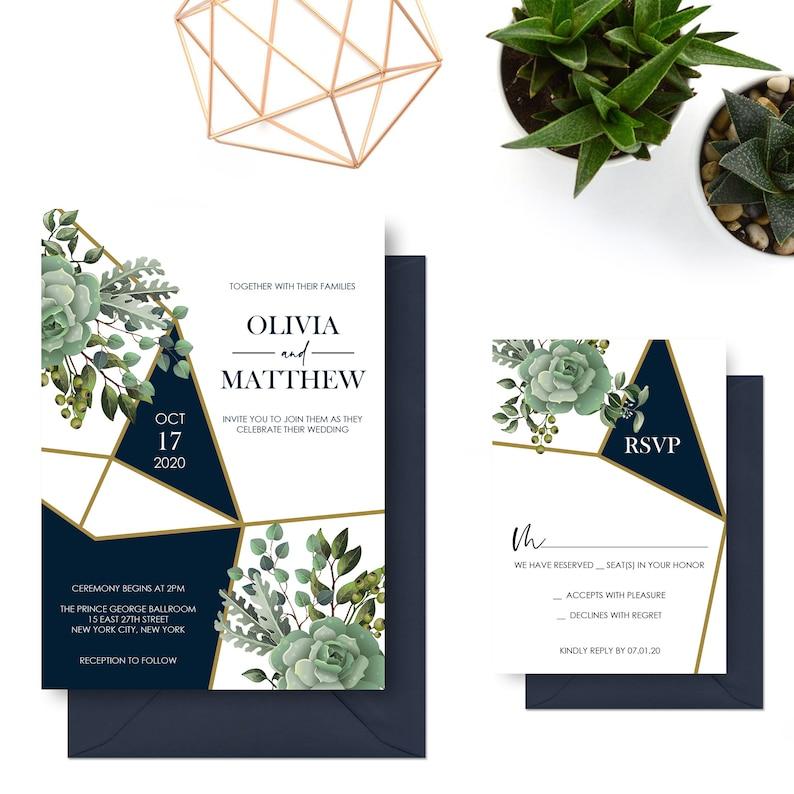 Navy and Gold Wedding Invitations Succulent Greenery Wedding Invitation Suite Modern Geometric Greenery Invites Printed Invitation Set