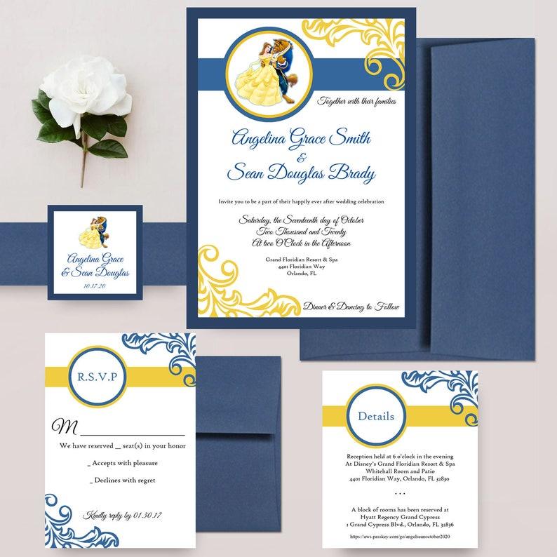 Beauty And The Beast Wedding Invitations Disney Weddings Fairytale Invite Navy Canary Invites